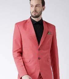 Red Plain Viscose Stitched Men Blazers