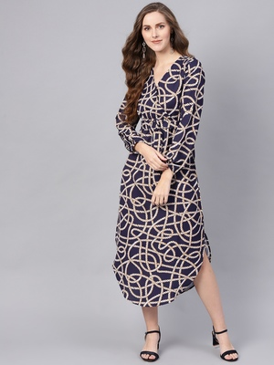 blue Linked Print Belted Wrap Dress