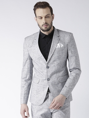 Grey Plain Linen Stitched Men Blazers