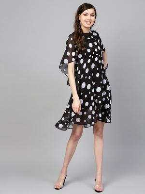 Black Polka Flared Sleeve Dress