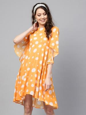 Yellow Polka Flared Sleeve Dress