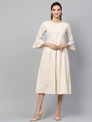 Beige Gathered Dress