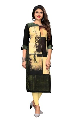Black Color Heavy American Crepe  Stitched Kurti