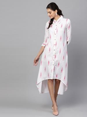 White ikat High Low Shirt Dress