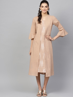 Brown ikat Mock Shrug Dress