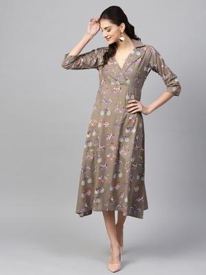 Grey Cycle Flared Collar Dress