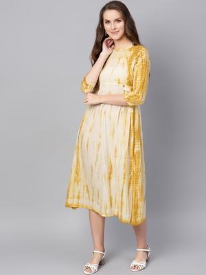 Mustard & White tie_dye Side Tab Midi