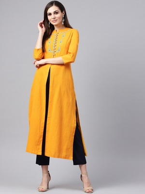 Mustard Yoke Embroidered Kurta