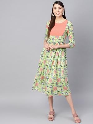 Green floral_print Gathered Yoke Dress