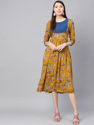 Mustard Paisley Gathered Yoke Dress