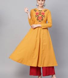 Mustard Yoke Embroidered  Flared Kurta Dress