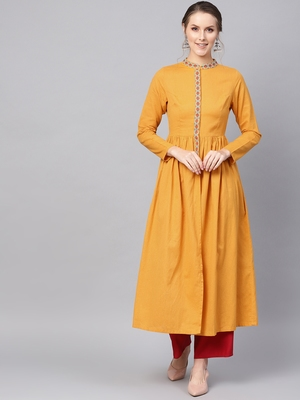 Mustard Embroidered Front Open Kurta
