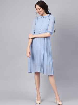 Blue Peterpan Pleated Belted Midi Dress