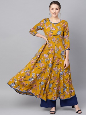 Mustard Paisley Anarkali Kurta Dress