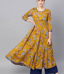Mustard Paisley Anarkali Kurta Dress