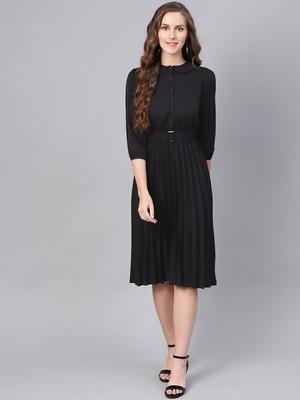 Black Peterpan Belted Pleated Midi Dress