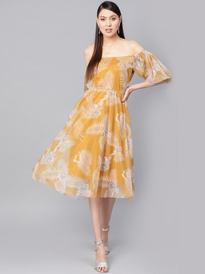 Mustard floral_print Mesh Off Shoulder Midi Dress