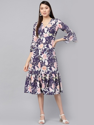 blue floral_print Frill Hem Wrap Dress