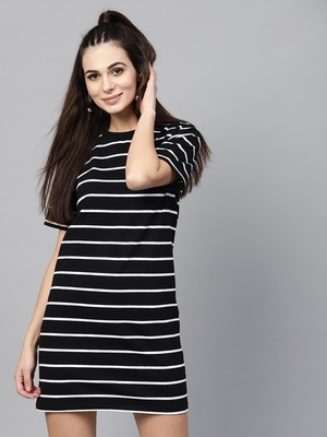 Black White Stripe Shift Dress