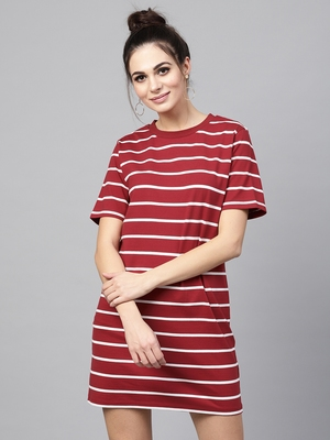 Maroon White Stripe Shift Dress
