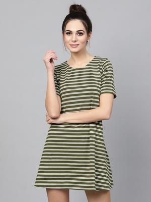 green White Stripe Tent Dress