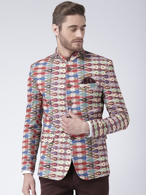 multicolor Printed Polyester stitched men-blazers