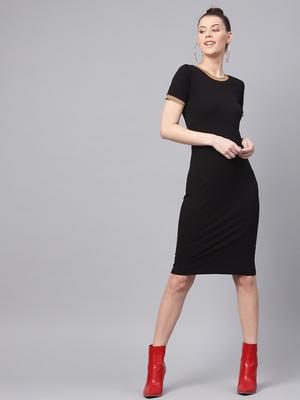 Black Bodycon Rib-Trim Athleisure Dress