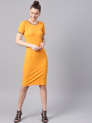 Mustard Short Rib-Trim Athleisure Dress