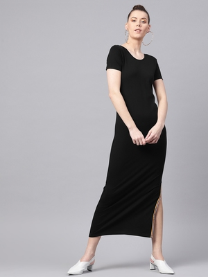 Black Side Slit Athleisure Maxi