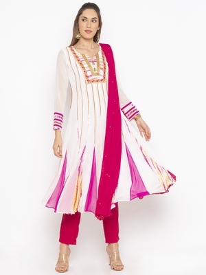 Off White Embroidered Georgette Salwar