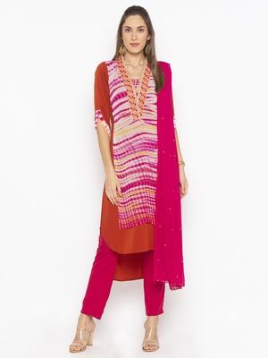 Brown Embroidered Faux Crepe Salwar