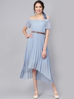 Blue Off Shoulder High Low Belted Pleated Dress