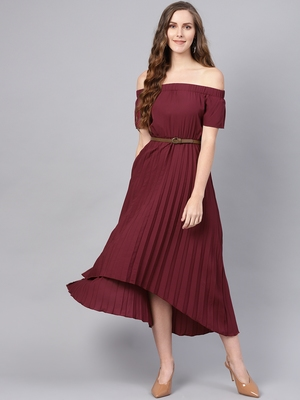 brown Off Shoulder High Low Belted Pleated Dress