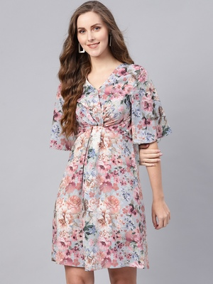 Grey floral_print Knot Front Dress