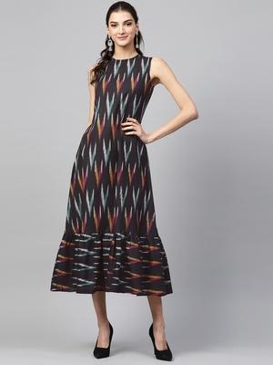 Black ikat sleeveless Frill Hem Dress