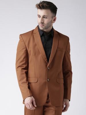 Brown Plain Viscose Stitched Men Blazers