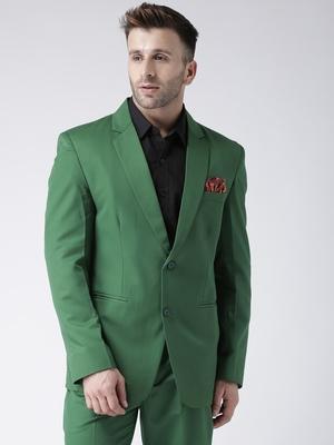 Green Plain Viscose Stitched Men Blazers