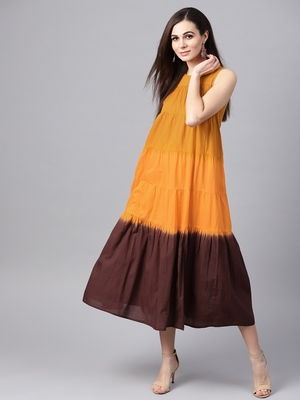 Mustard & Brown Ombre tie_dyered Maxi