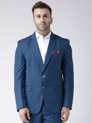 Blue Plain Viscose Stitched Men Blazers