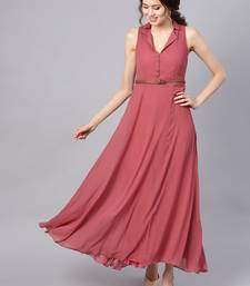 Rose Pink Notched Collar Belted Maxi