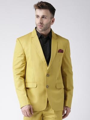 Yellow Plain Viscose Stitched Men Blazers