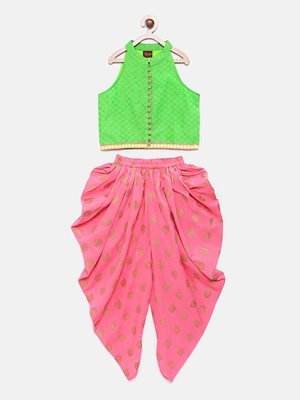 Green printed jacquard top with dhoti for girls