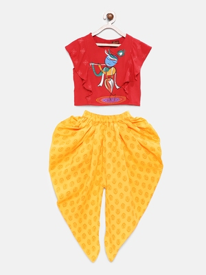 Red printed cotton top with dhoti for girls