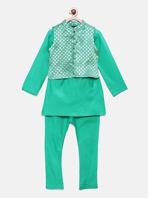 Blue woven brocade boys-kurta-pyjama