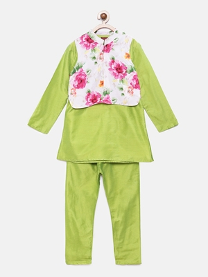 Green woven polyester boys-kurta-pyjama