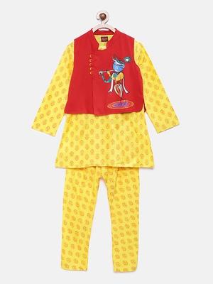 Yellow woven polyester boys-kurta-pyjama