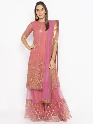 Light Pink Embroidered Faux Net Salwar