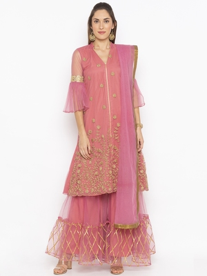 Light Pink Embroidered Faux Net Salwar