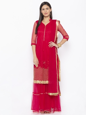 Maroon Embroidered Faux Net Salwar