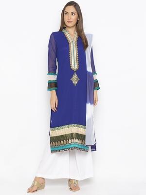 Dark Blue Embroidered Georgette Salwar